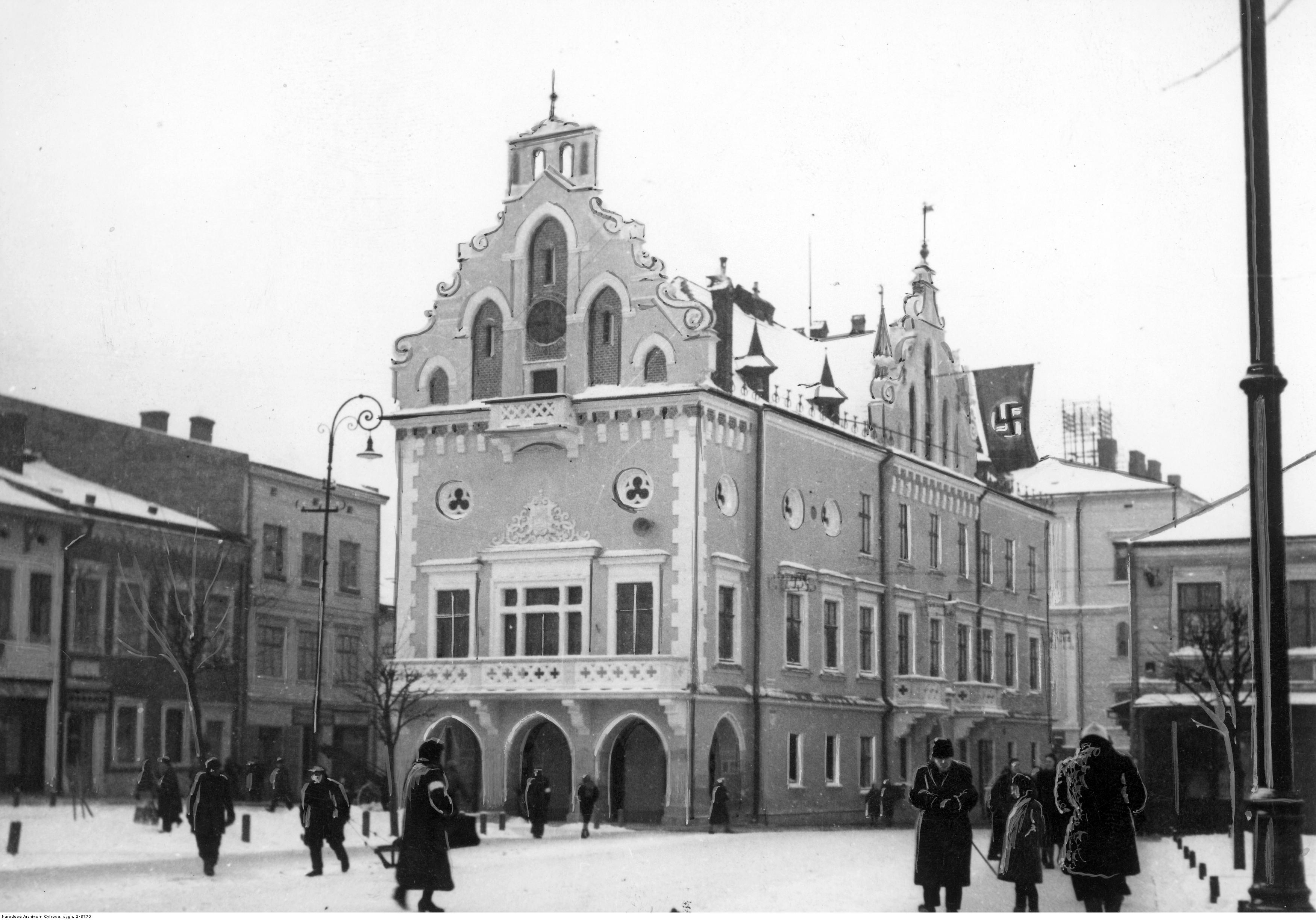 Rathaus, Gesamtansicht im Winter, 1941-02