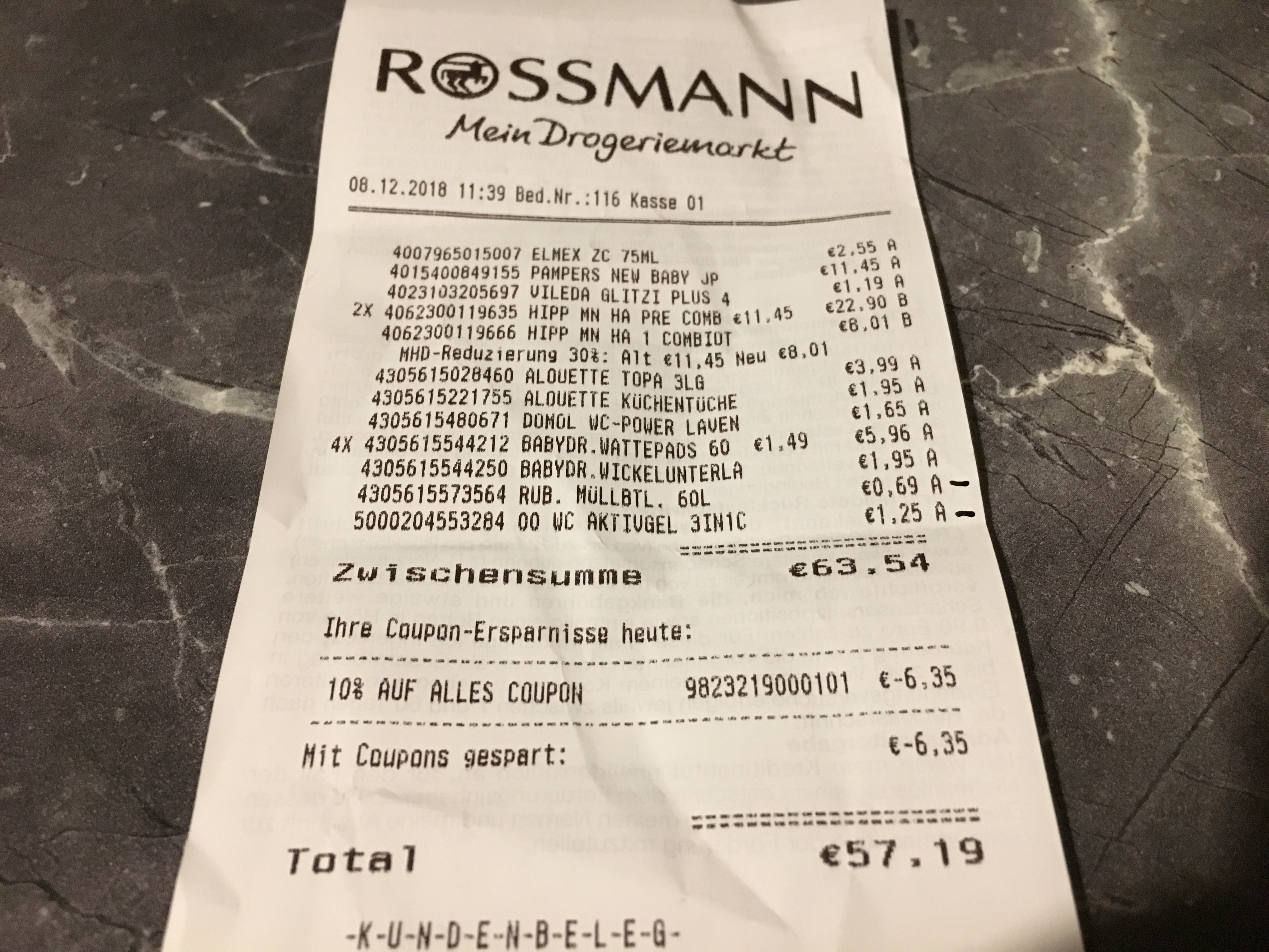 Rossmann niemiecki paragon